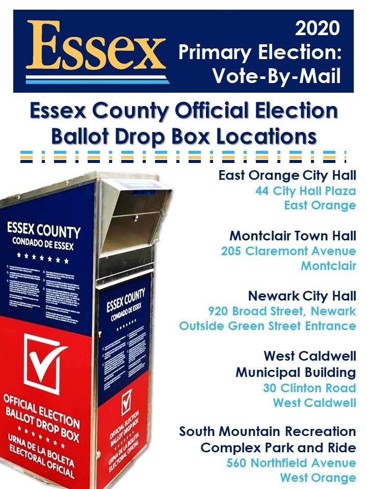 2020 Voting Ballot Drop Box Locations for Essex County, NJ