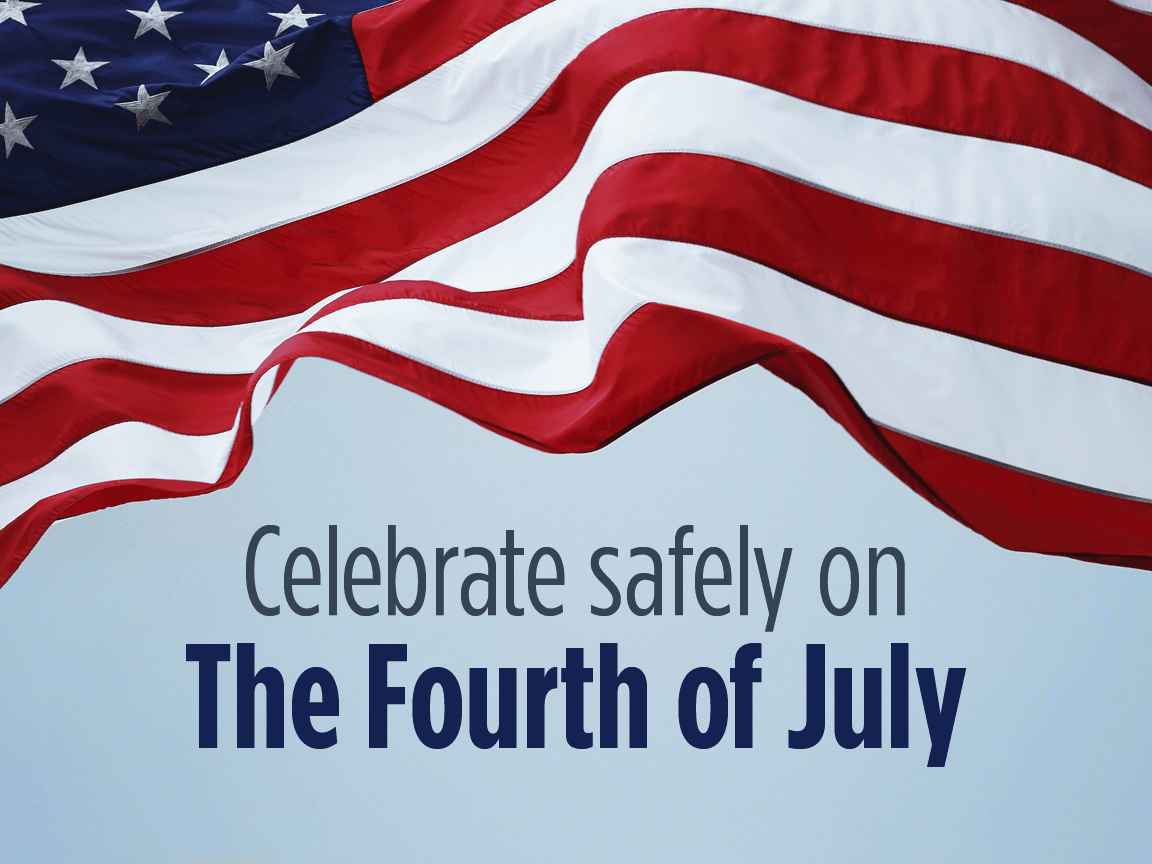 Celebrate Safely on the Fourth of July. Background: American flag waving in sky
