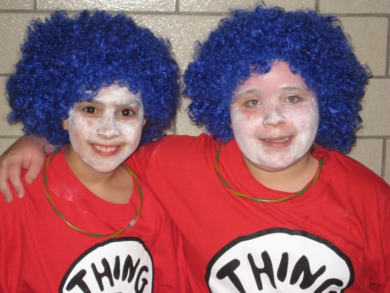 Two Kids in Thing 1 and Thing 2 Costumes