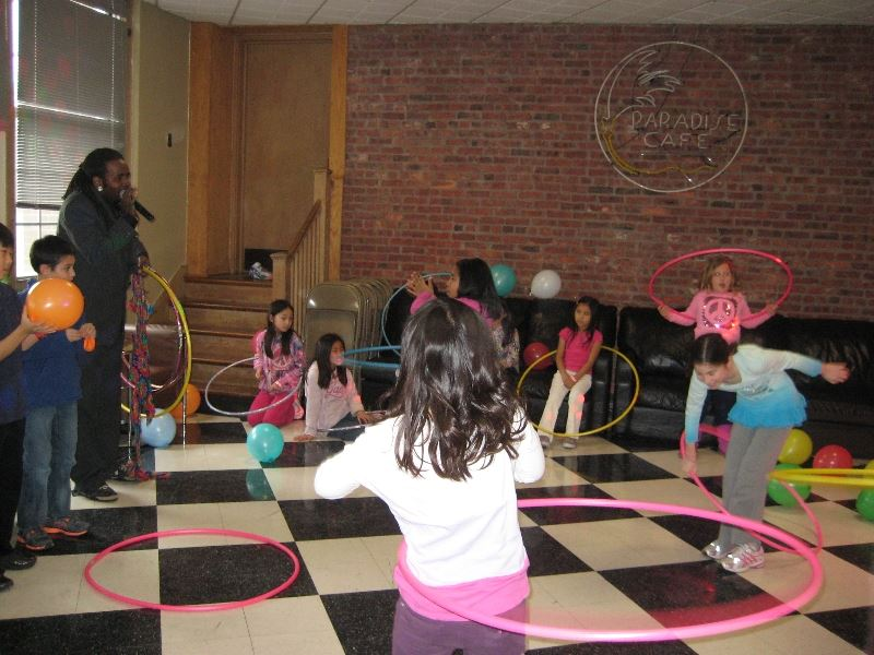Group of Kids Playing with Hula Hoops