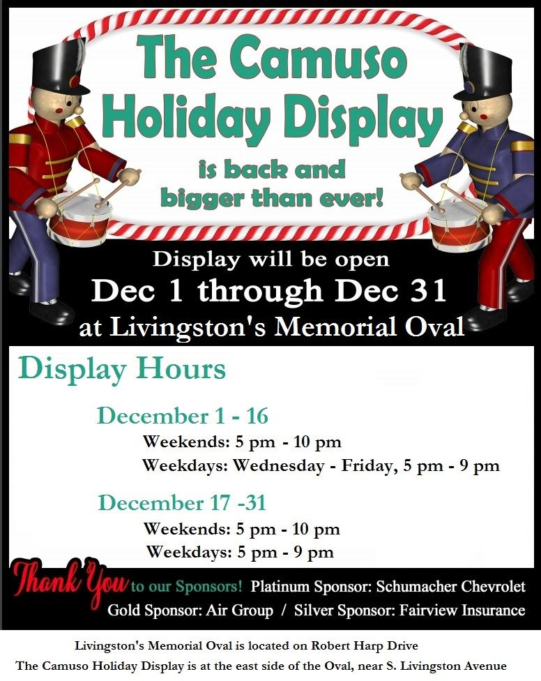 2018 Camuso Holiday Display Hours of Operation