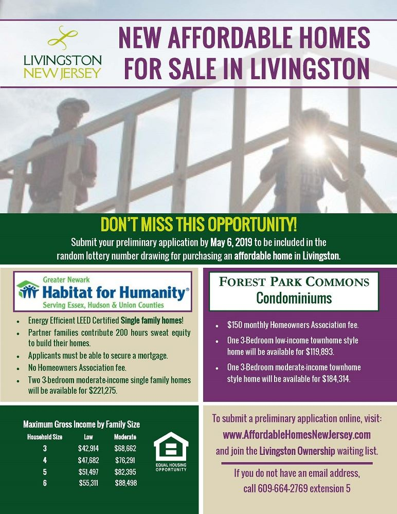 New Affordable Homes for Sale in Livingston - apply to lottery by May 6, 2019. View PDF version for