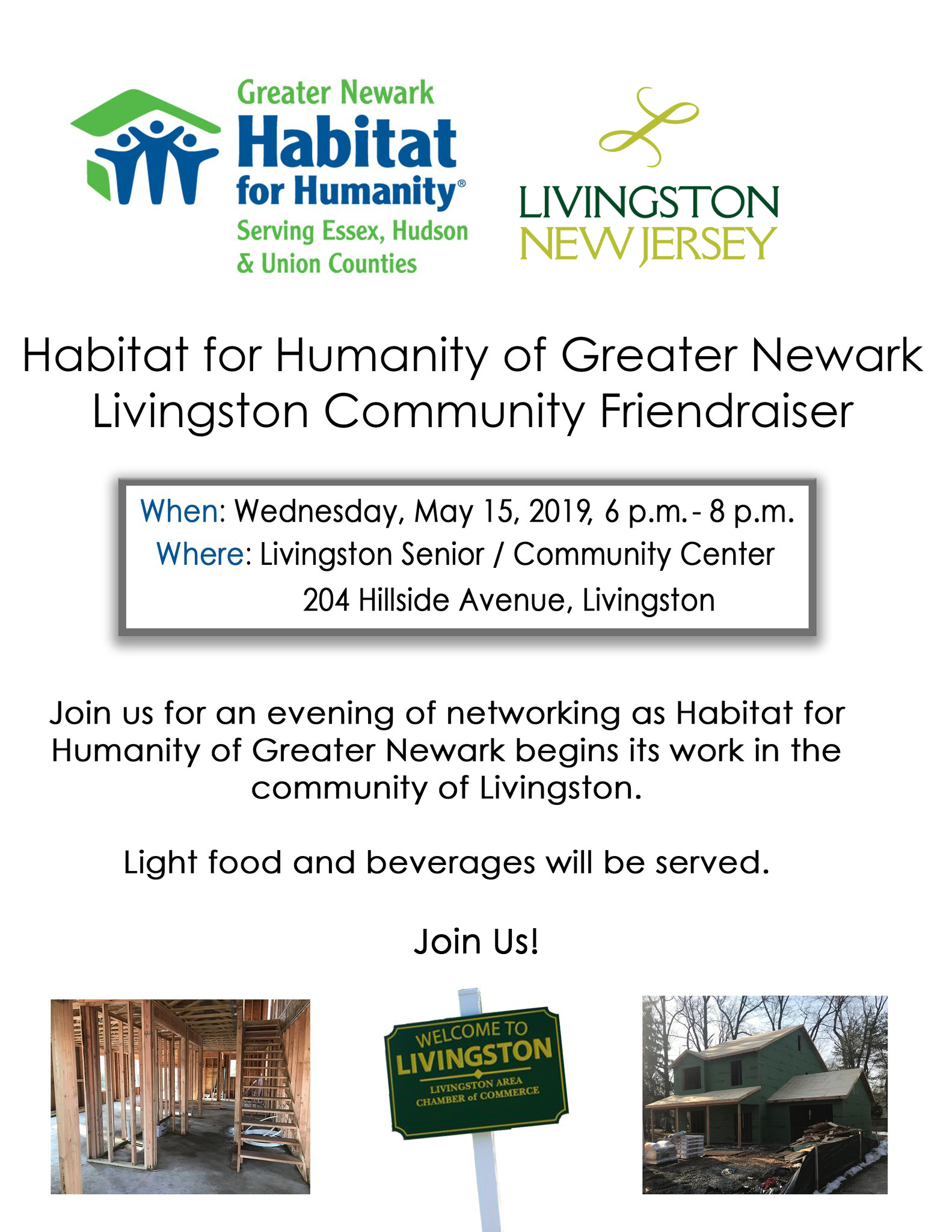 Flyer for Habitat for Humanity Livingston Community Friendraiser, May 15, 2019. Pictures of house un