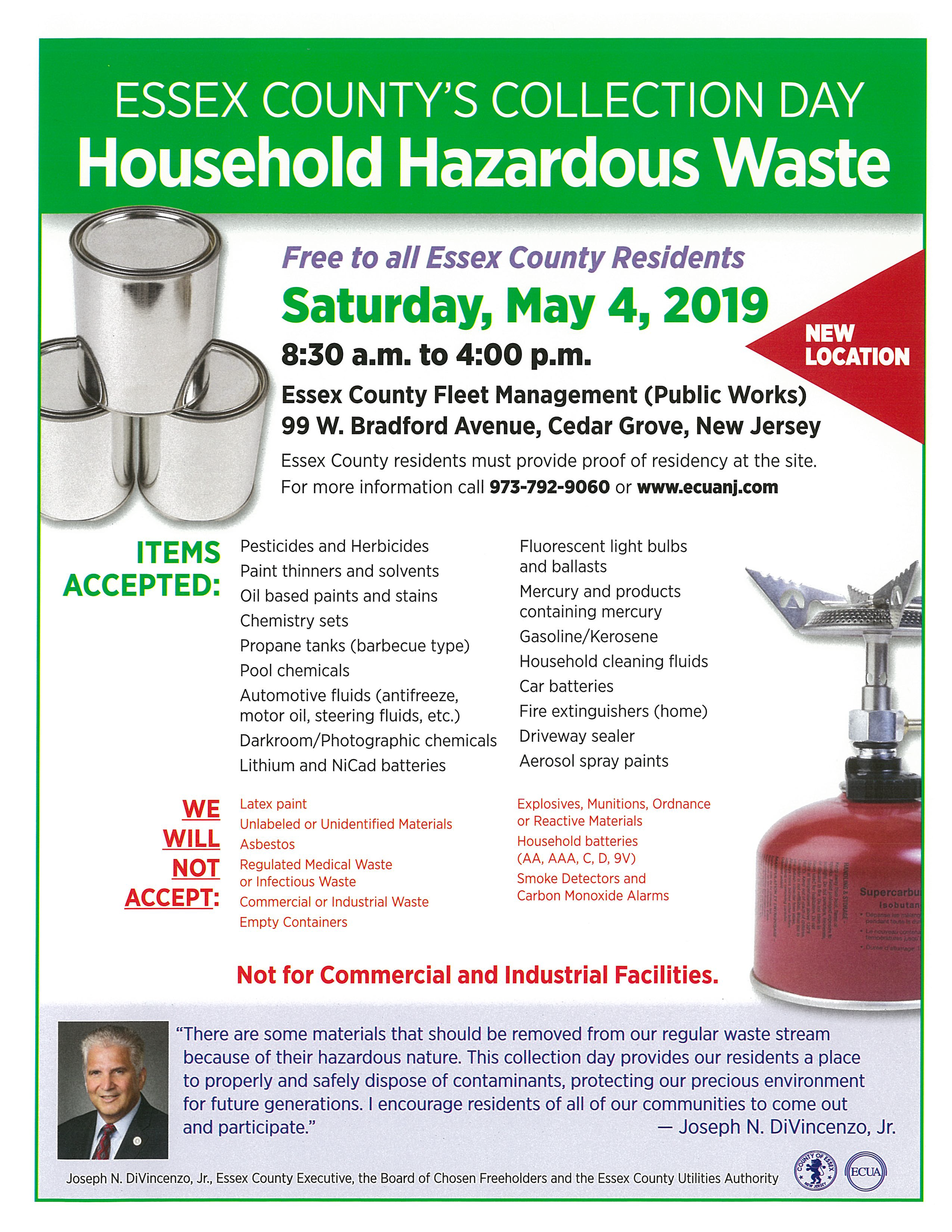 Essex County&#39s Collection Day: Household Hazardous Waste, May 4, 2019. Visit ecuanj.com for detai