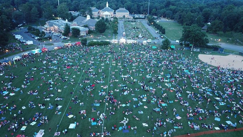 Aerial photo of crowd gathering before fireworks