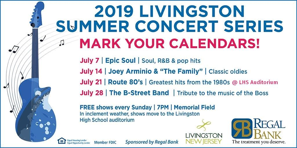 Dates for 2019 Summer Concert Series, with update: July 21 concert held indoors at LHS Auditorium