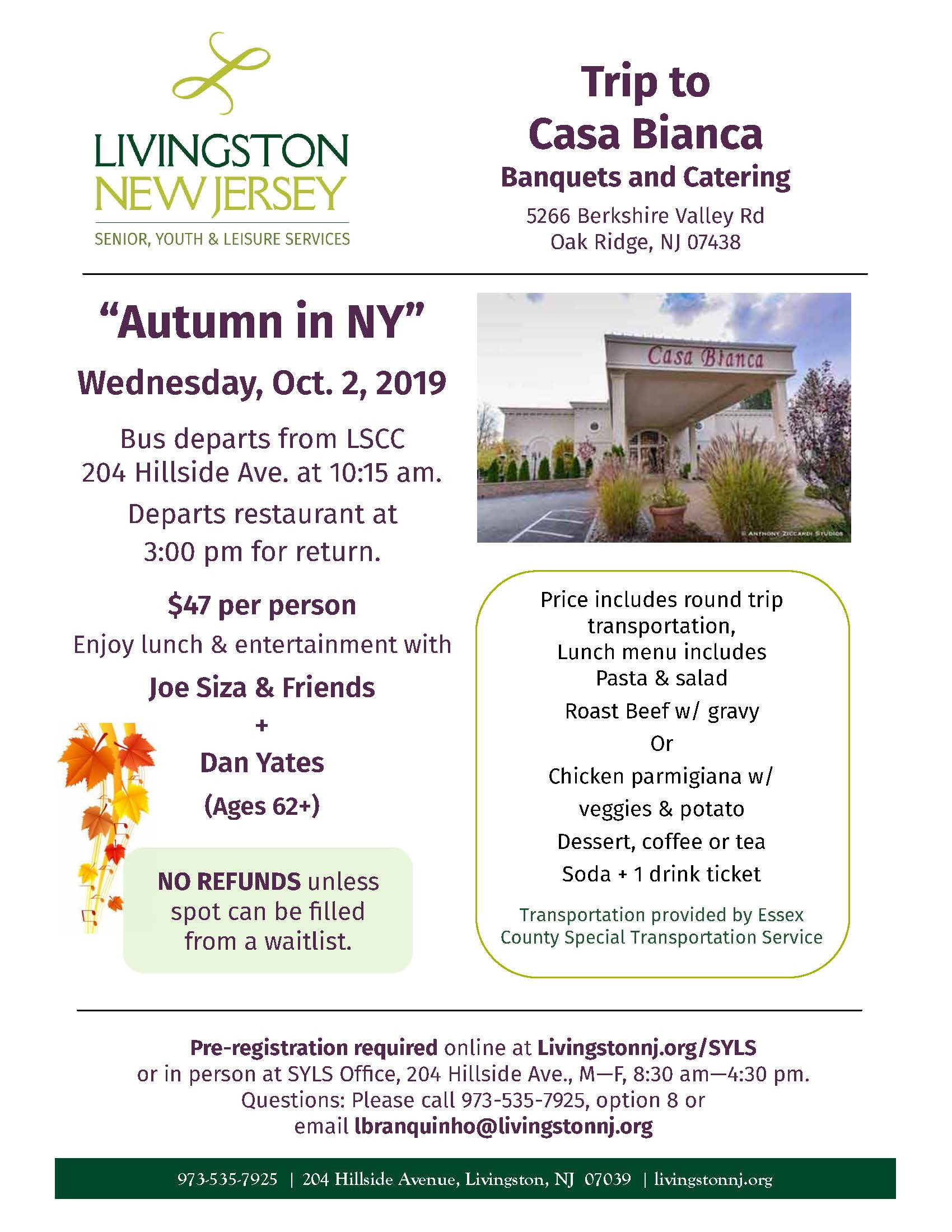 Autumn in NY trip flyer