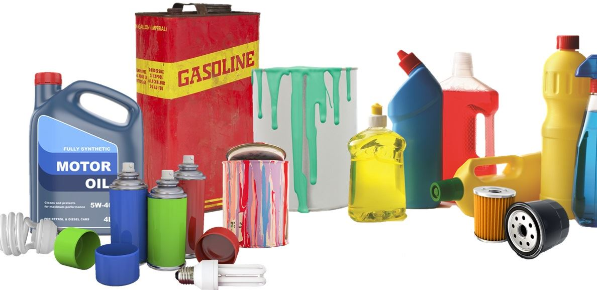 Photo of household hazardous waste items including motor oil, gasoline, fluorescent light bulbs, oil