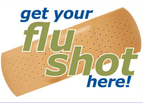 "Image of a Band-Aid with ""get your flu shot here!"" text over it"