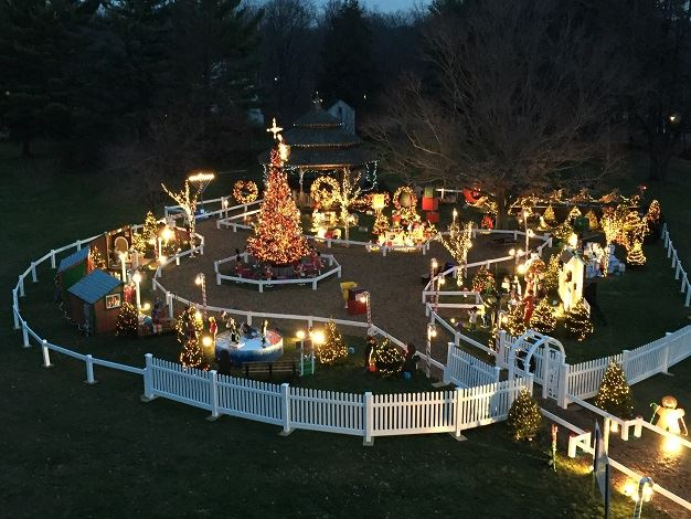 Aerial photo of the Camuso Family Holiday Display showing holiday lights and walking path