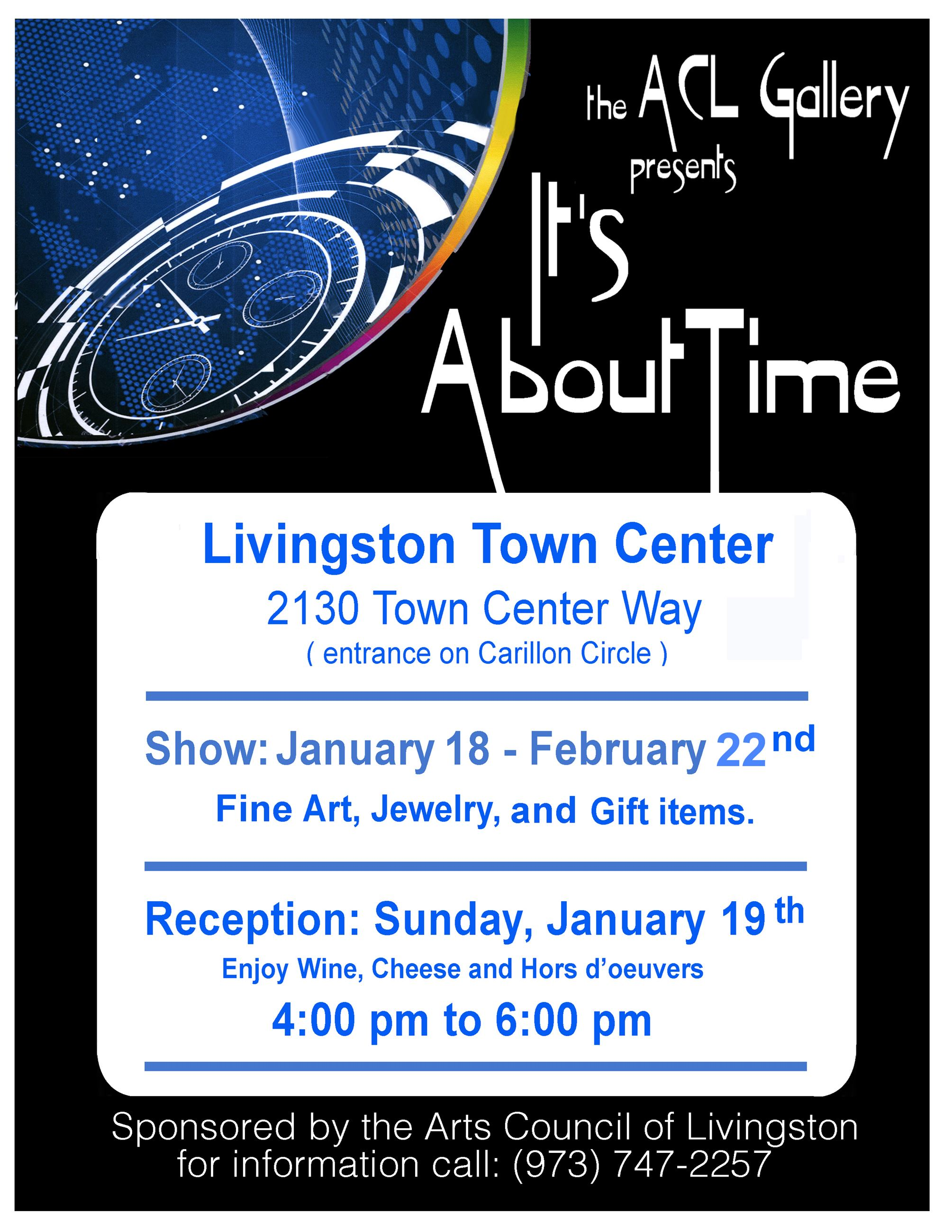 "Flyer: ACL Gallery's ""It's About Time"" show 2020. Image: clock in space. Info: livingsto"