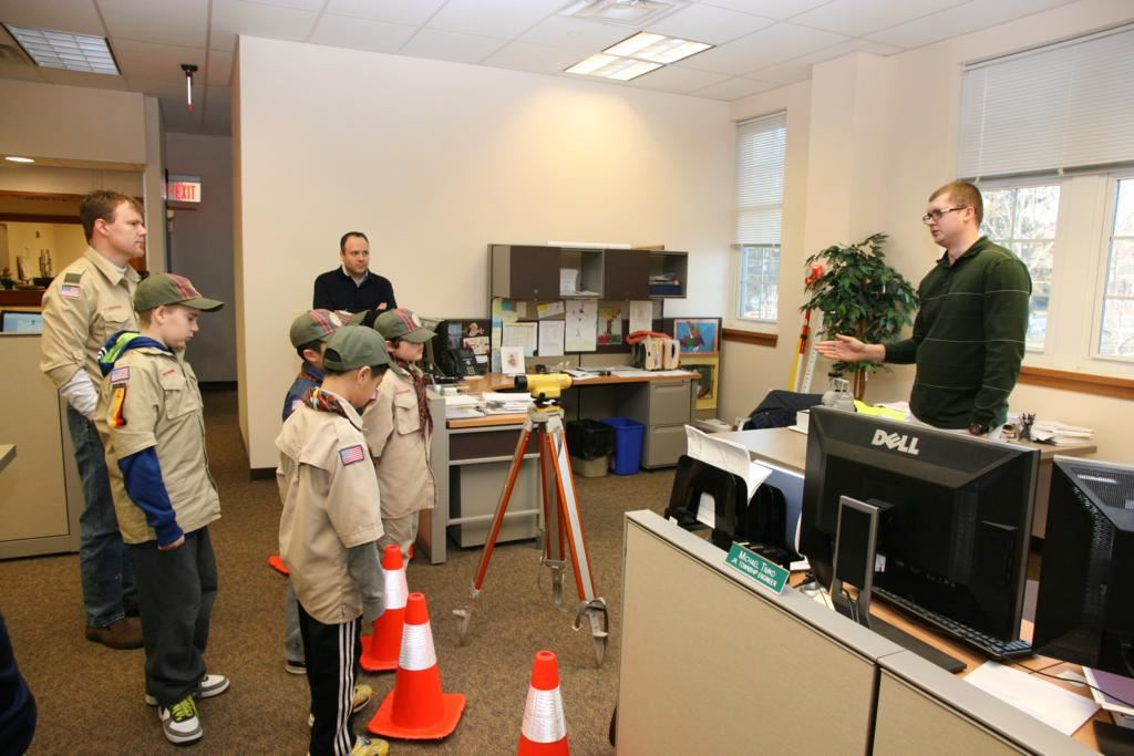 Boy Scouts Learing About Surveying Equipment