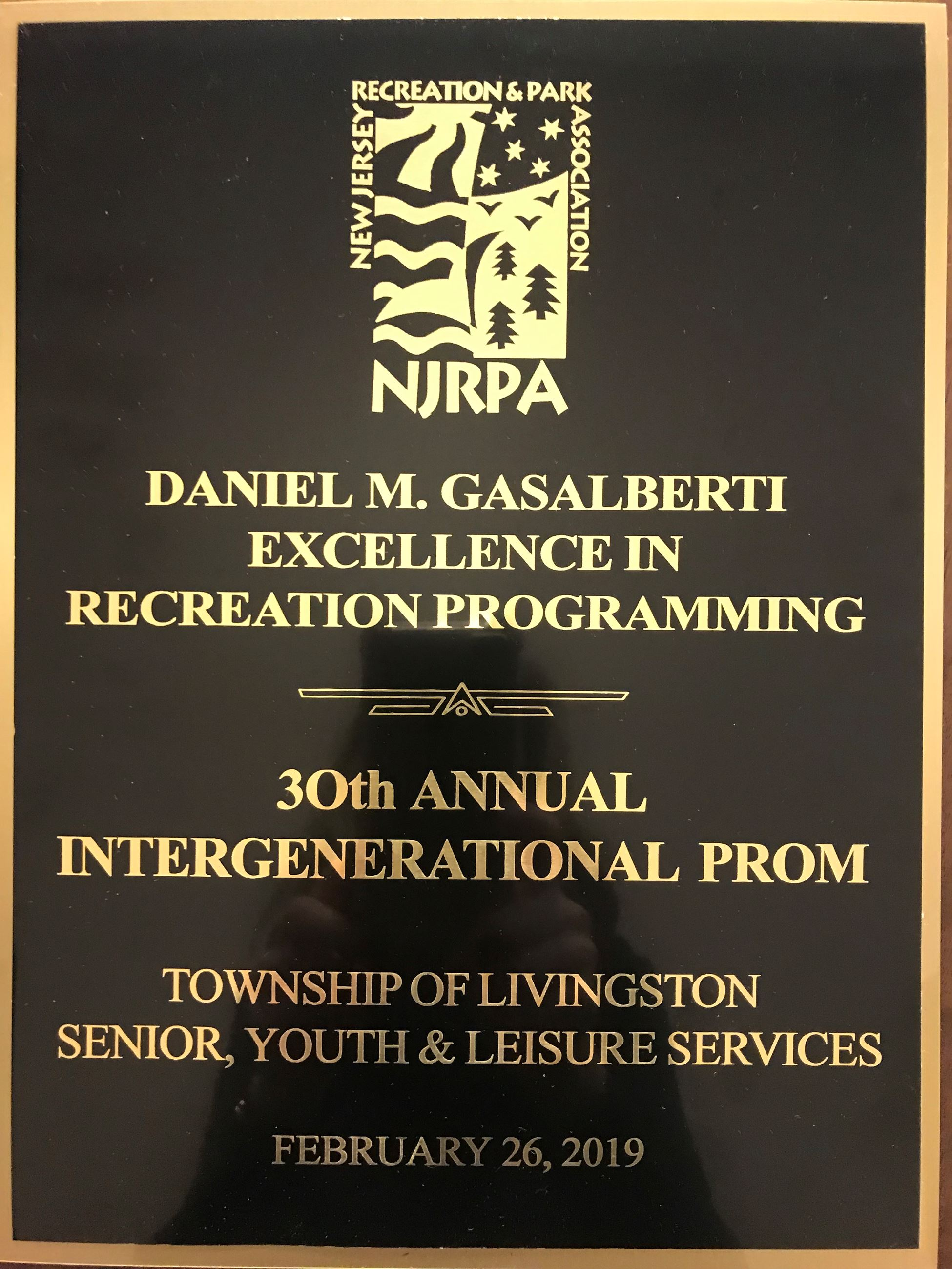 Plaque for 2019 NJRPA Award received by Livingston SYLS for 2018 Intergenerational Prom