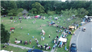 Aerial photo of crowd and activity tents