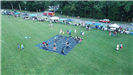 Drone photo of attendees and community organization tents