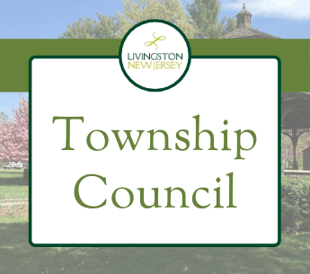 Livingston Township Council banner with Gazebo photo in background