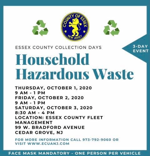 October 2020 Essex County Household Hazardous Waste Collection Dates