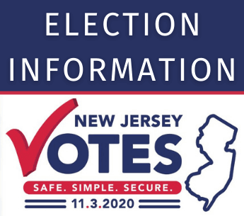 Text: Election Information; NJ Votes logo 11-3-2020, red white & blue