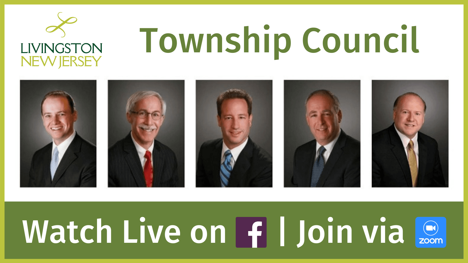 Livingston Township Council - Watch live on Facebook / Join via Zoom. Portrait photos of Council