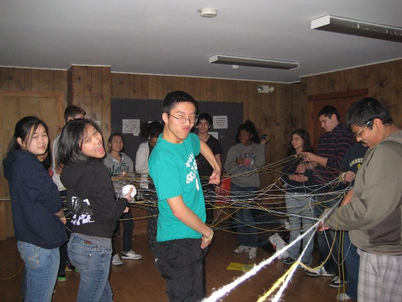 Campers Playing a Game with Yarn