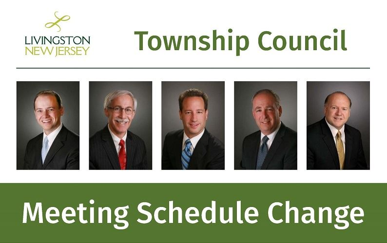 Livingston Township Council Meeting Schedule Change - with photos of 4 council members