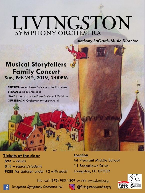 Flyer for the 2/24/19 LSO &#34Musical Storytellers&#34 family concert. Painting of a tower and villa