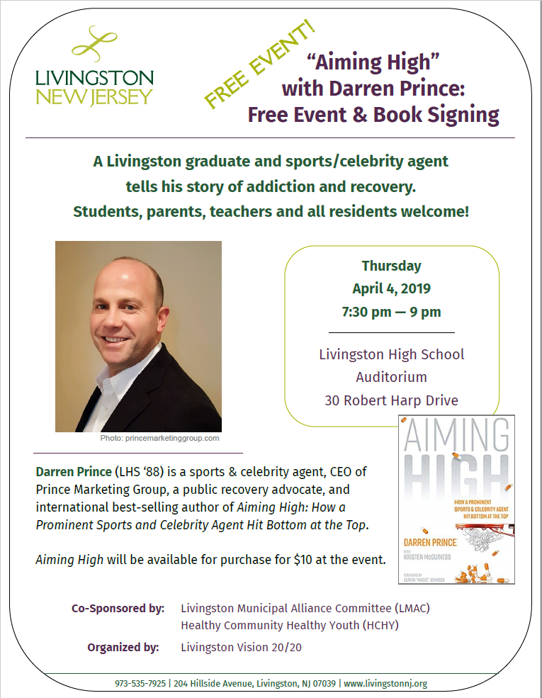 Flyer for 4/4/19 Darren Prince event and book signing. Details at livingstonnj.org