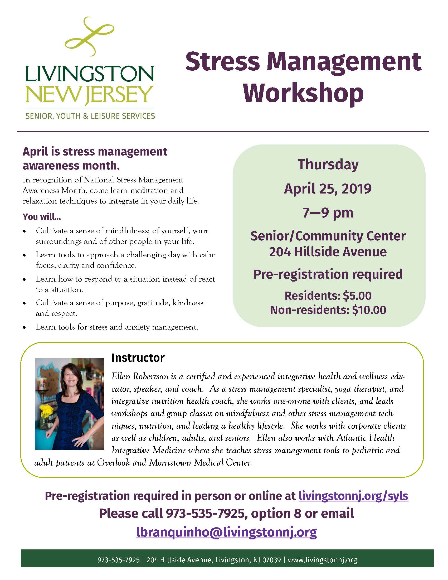 Stress Management Workshop 2019