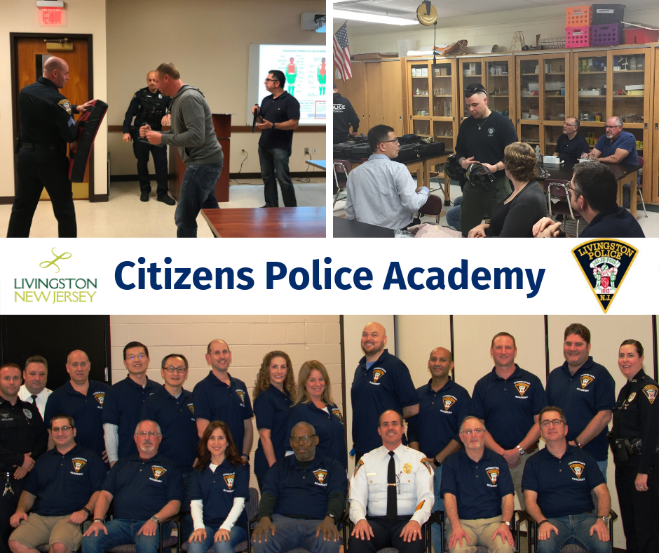 Livingston Citizens Police Academy with pictures from 2018 program classes and police patch