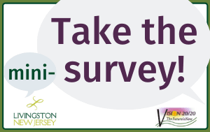 """Take the mini-survey"" in purple text on gray speech bubbles, with Livingston and Vision 20/20"