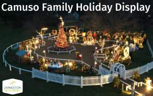 "Photo overlooking the Camuso Holiday Display on the Oval, lit up at night. Text reads ""Camuso Fam"
