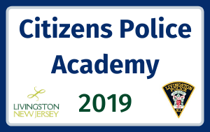 """Citizens Police Academy 2019"" with LPD logo and Livingston logo. Blue and gray border on whit"