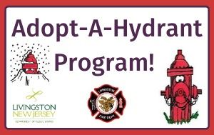 Text: Adopt-A-Hydrant Program! Cartoon images of a hydrant covered in snow and one cleared out and h