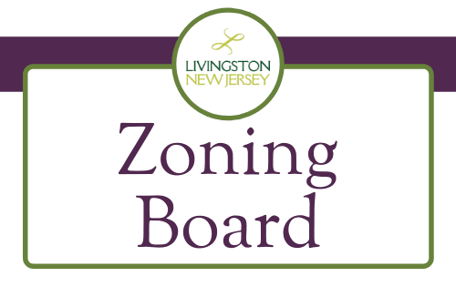 "Livingston logo and ""Zoning Board"" in purple text with border"