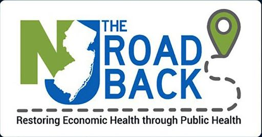 """NJ"" with shape of NJ logo + ""The Road Back: Restoring Economic Health through Public Healt"