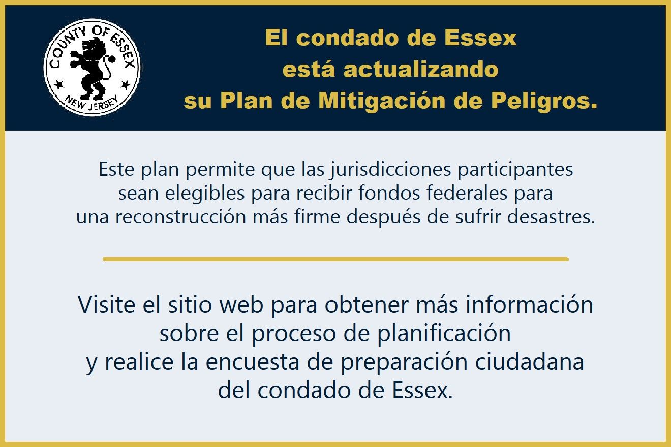 Essex County Hazard Mitigation Plan update reminder in Spanish